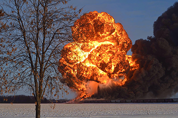 The fireball that followed the derailment and explosion of two trains in N.D.