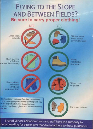 Sign in airport showing acceptable cold weather clothing for passengers.