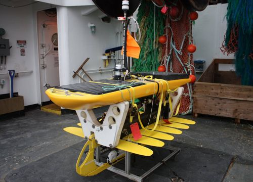 A wave glider before being launched from the NOAA Ship Oscar Dyson.