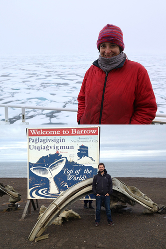 Woman on a ship (above) and man in front of whale bones and sign (below)