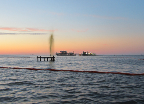 Leaking wellhead in Lake Ecaille, located in the Mississippi River Delta.