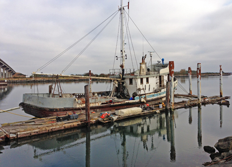 The F/V Gemini, or F/V Western Flyer, after being raised from Swinomish Channel.