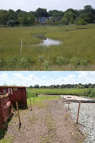 Tidal creek in Woodbridge Marsh in 2008 and observation deck layout in 2013.