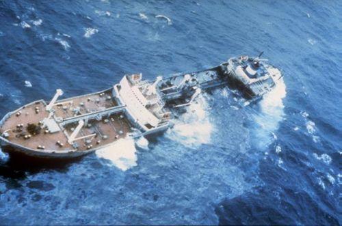 Ship sinking in the ocean.