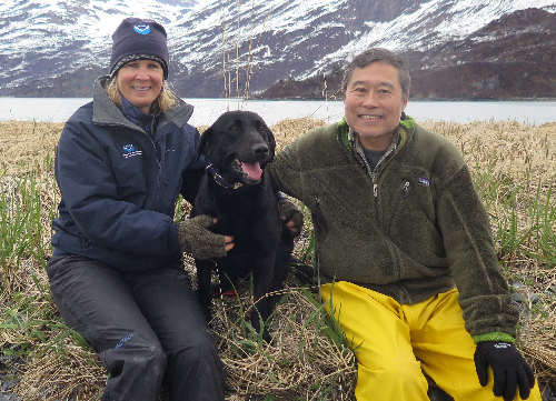 Catherine Berg, Pepper, and Gary Shigenaka. Image credit: NOAA.