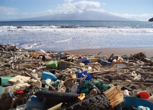 Litter on beach. Image credit: NOAA.
