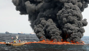 Photo: In situ burn in the Gulf of Mexico.