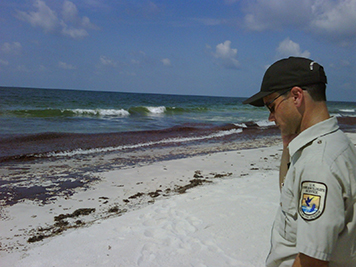 U.S. Fish and Wildlife Service employee on a beach with waves washing up oil.