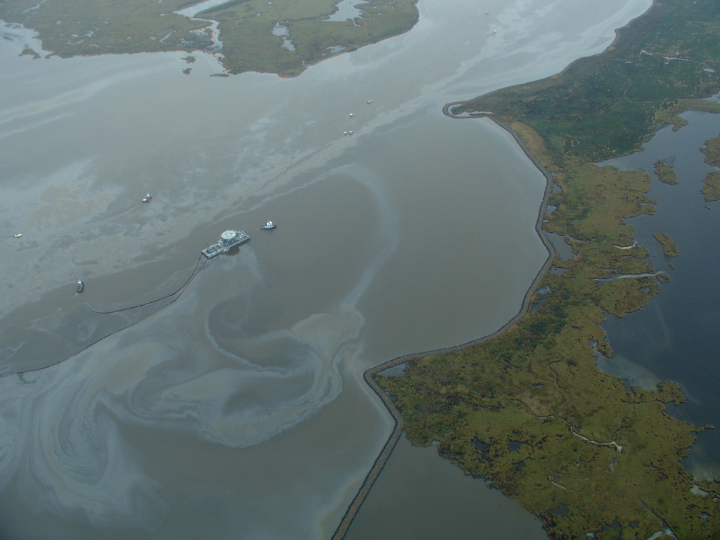 Well blowout resulting in an oil spill in Lake Perot.