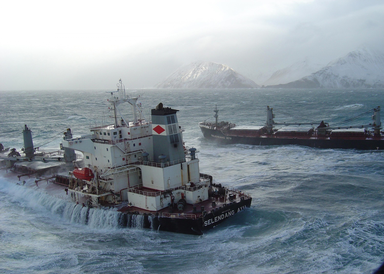 The M/V Selendang Ayu broke apart near Unalaska Island, AK.
