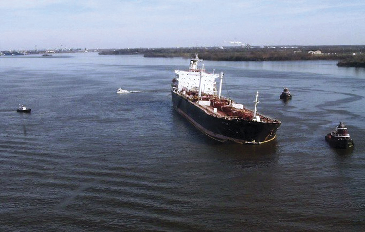 M/T Athos listing after running aground.
