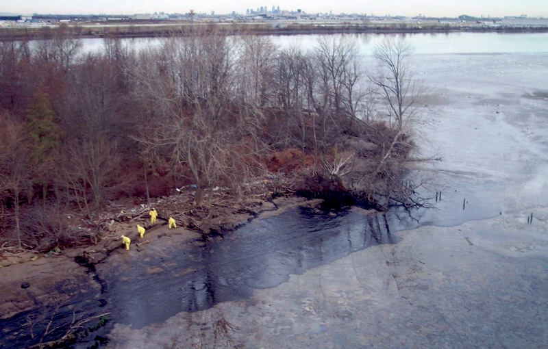 Oil on the Banks of the Delaware River After M/V Athos Spill.