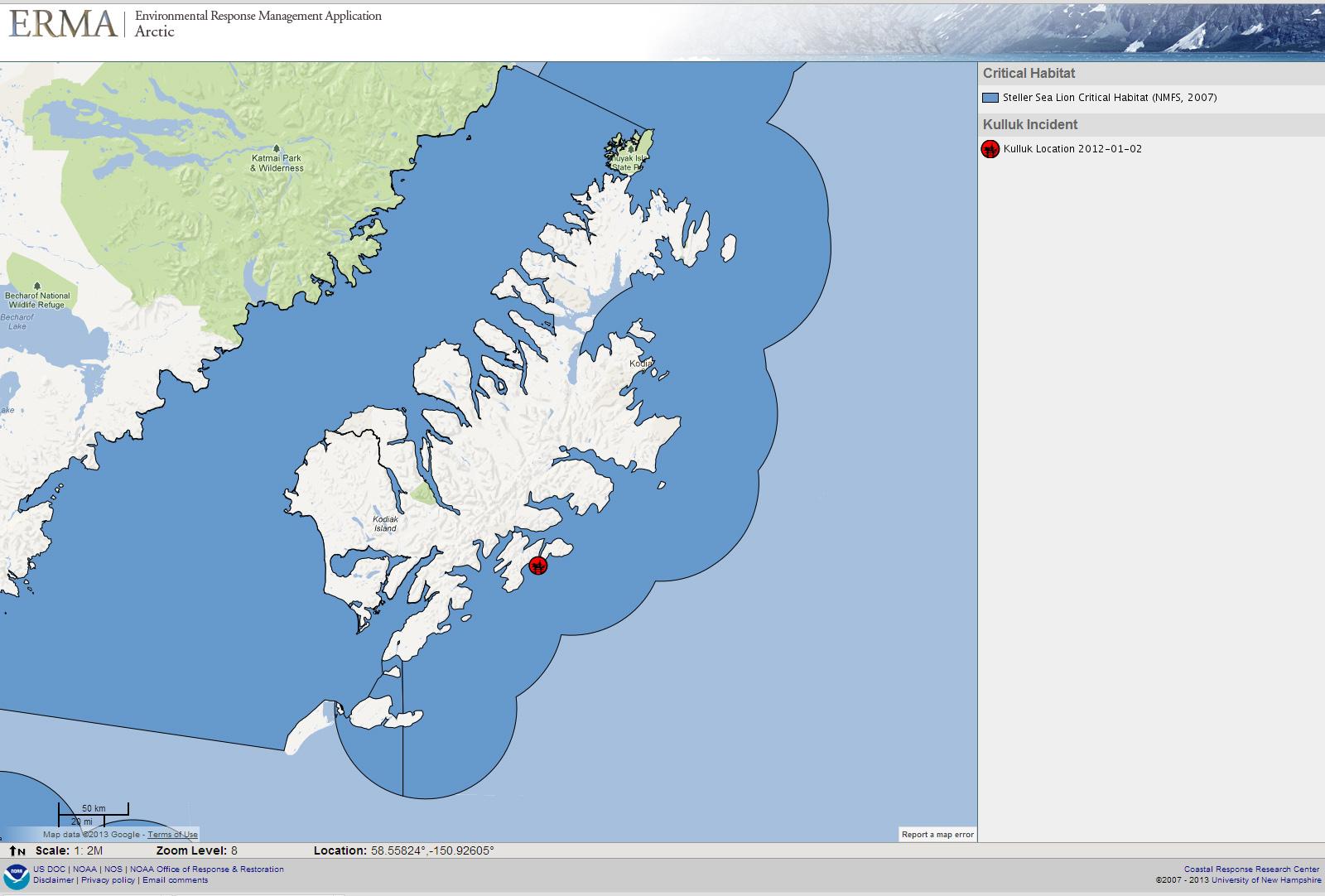 Kodiak Island Alaska Map.Noaa Responds To Shell Drilling Rig Kulluk Grounding In Gulf Of