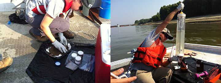 Left: Scientist scooping sediment from a pan to collection jars. Right: Scientist on a boat holding a tube of water to transfer to jars.