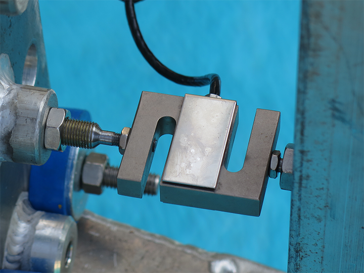 An s-shaped metal load cell attached to the clamp holding baleen over a tank.