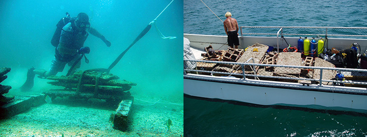 Left, a diver attaching a rope to remove a casita from seafloor and at right, a man on a boat with dismantled casitas.