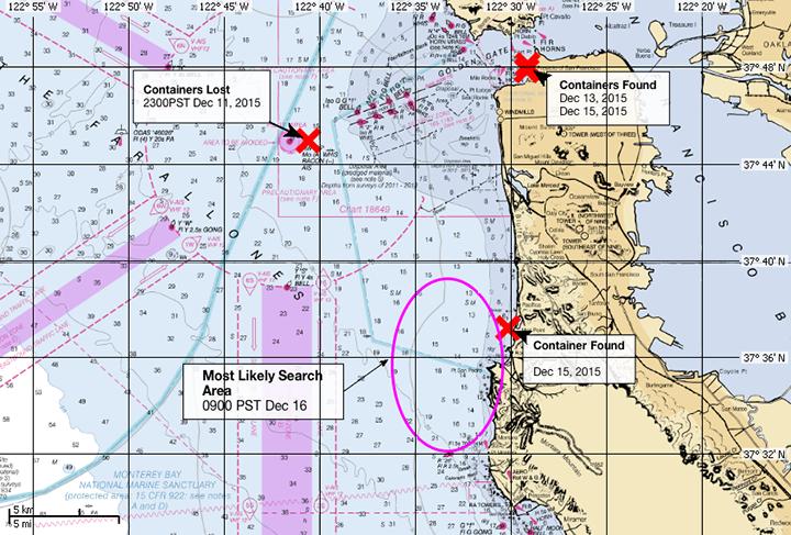 NOAA chart of waters off San Francisco showing where the shipping containers were lost and where three have been found.