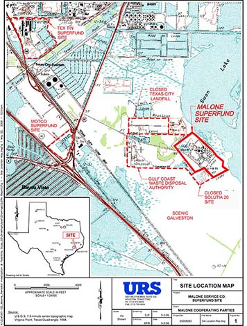 The Malone Service Company Superfund site map.