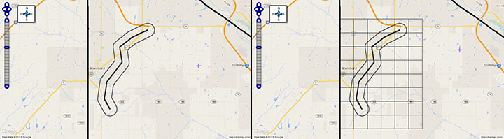 Screenshots of estimated tornado path and affected area (left) with one-square-mile-grids (right) in MARPLOT 5 map.