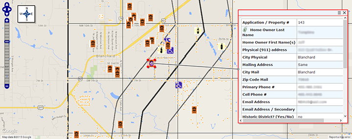 Screenshot showing close-up of grid zones for a hypothetical tornado. The map shows safe rooms, 911 address points, and special populations displayed in MARPLOT 5 mapping software.