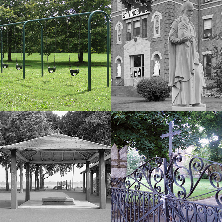 Playground swings at St. Vincent's. Statue of St. Vincent with a child in front of large brick building. Elaborate locked iron gate with a cross. Pavilion with trees and river view.