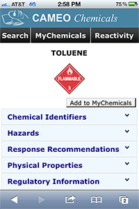 Screen shot of CAMEO Chemicals mobile website for the chemical toluene.