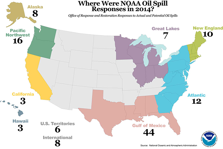 Map of United States with numbers of oil spill responses in various coastal regions.