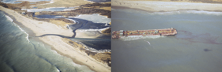 Left, spilled oil flowing from the ocean across a beach into saltwater ponds. Right, Oil leaking out of a barge run aground off of a beach.