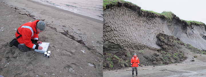 Left: Woman kneeling on beach filling out form next to jars of sediment. Right: Woman standing on beach in front of permafrost on eroding coast.