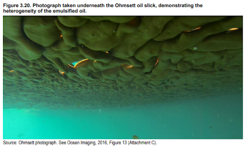 "An image of oil from below. The image is labeled ""Figure 3.20. Photograph taken underneath the Ohmsett oil slick, demonstrating the heterogeneity of the emulsified oil."