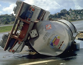 A tank truck carrying the chemical toluene overturned, causing a potentially dangerous spill. (NOAA)