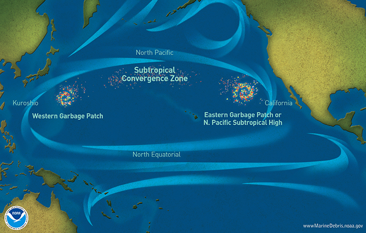 Marine debris accumulation locations in the North Pacific Ocean.