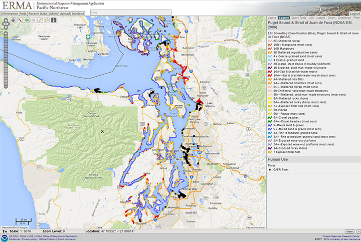 Screen capture view of Pacific Northwest ERMA showing a map of Puget Sound with ports and shoreline sensitivity indicated in various colors.