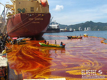 A palm oil spill in a port off of Colombia in 2008.