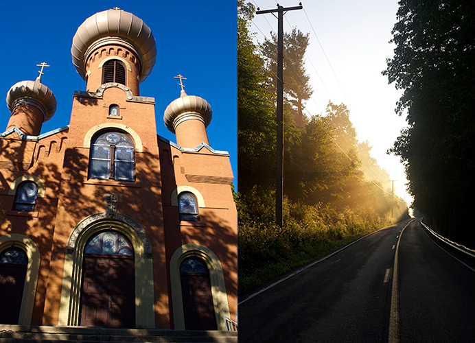 Greek Catholic Church and a road through a Pennsylvania forest.