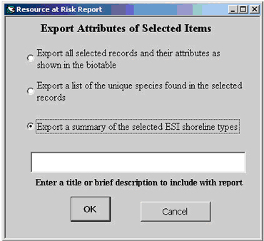 Screenshot of the Resource at Risk Report dialog, which is part of the ESI Report Generator Tool.