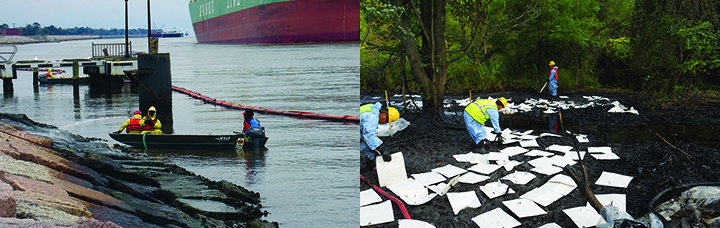 Left: People in boats spray hoses at oiled shoreline. Right: People place absorbent white squares on oil along a forested riverbank.