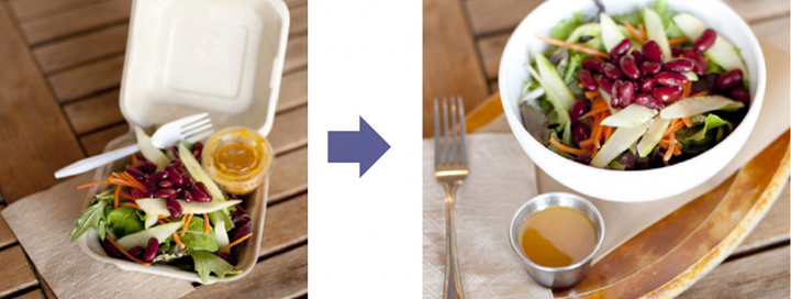 Left: Salad in a to-go container with plastic fork and dressing cup. Right: Salad in a ceramic bowl with metal fork and dressing cup.