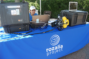 Rozalia Project educational booth with ROV Hector the Collector.