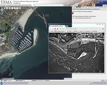 A screenshot showing Santa Barbara Harbor today using NOAA's online mapping tool, ERMA, along with a historical photo of the harbor during the 1969 Platform A well blowout.