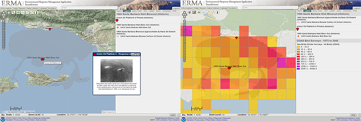 Screen Shots Of Two Maps Of The Coast Showing Where A Drilling Platform And Oil Slick