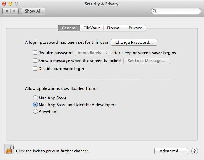 The General tab of the Security & Privacy settings window. You can modify the Gatekeeper settings by unlocking the settings window and then choosing a different option from the Allow Applications Downloaded From section. The default setting for many computers is the one shown here: Allow applications downloaded from Mac App Store and identified developers.