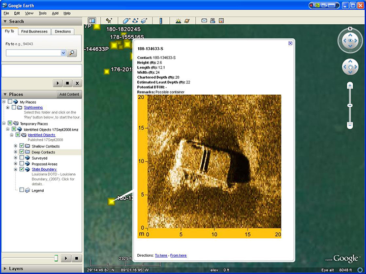 A side scan sonar image of a possible container off the Gulf Coast.