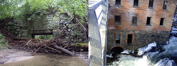Left: Tree branches piled up in front of an old stone bridge's culvert in a wooded creek. Right: Old brick building next to creek.