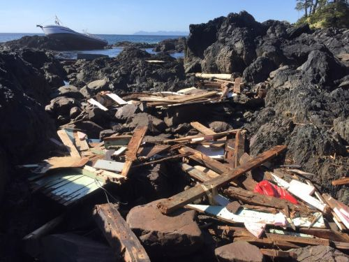 Debris from a grounded vessel in Southeast Alaska.