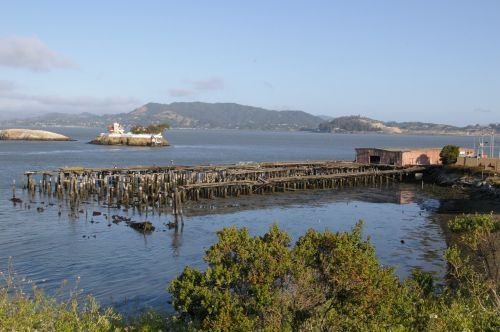 An old pier extending out into the water.