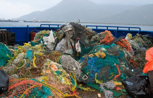 Derelict fishing nets collected in Alaska.