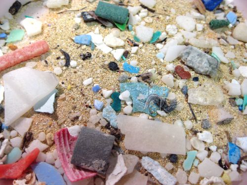Microplastics washed on to the shore in Hawaii.