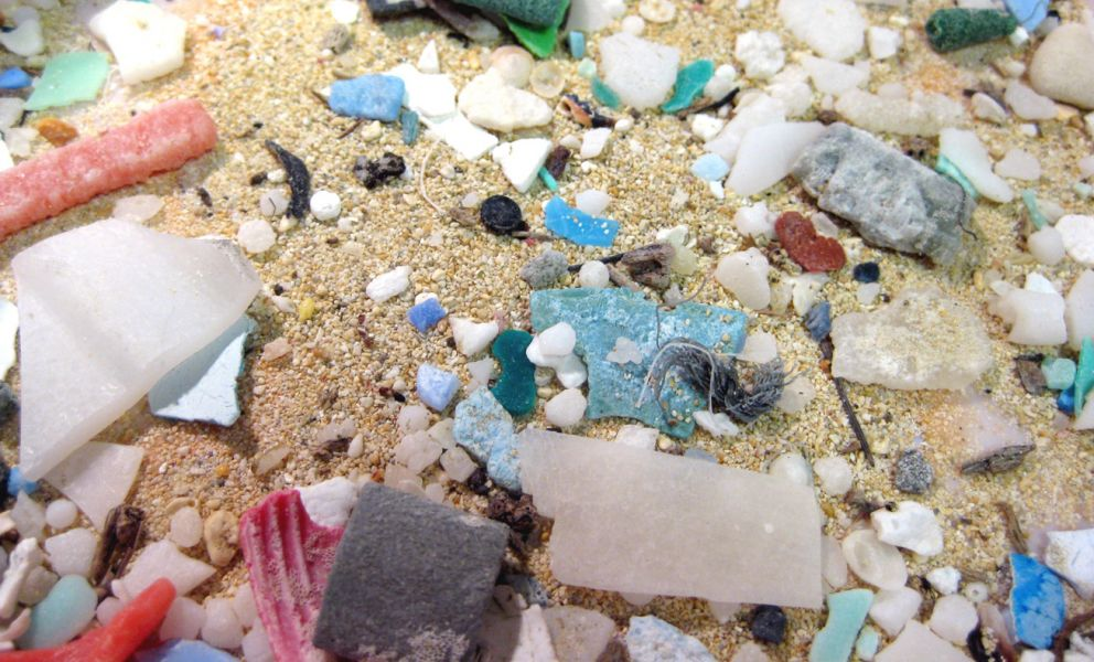 A close-up image of microplastics.