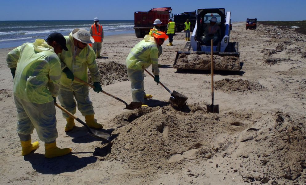 Cleanup workers remove oil from a sandy beach.